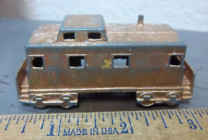 Vintage Midgetoy metal train caboose, good condition, painted copper, fun toy