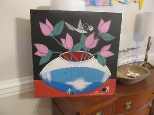 "MICHAEL BANKS Outsider FOLK ART FLOWERS VASE Bird 24 x 24"" ALABAMA"