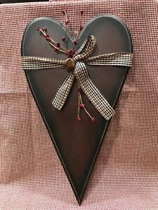 "Wood Heart Sign Wall Hanging 18""x10""-CUTE! Ribbon Berry Bells"