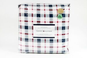TOMMY HILFIGER Full/Queen Boston Plaid Comforter Blue/White/Red Set NEW
