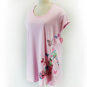 Goodnight Kiss Plus Light Pink Butterflies Print Short Sleeve Sleep Shirt 1X