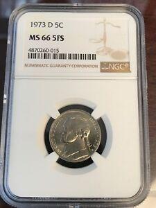 1973-D 5C Jefferson Nickel NGC GEM UNCIRCULATED MS66 5 FS  Full Steps!