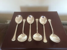 "LOVELY SET OF 6 SILVER PLATED SOUP SPOONS 7"" LONG (REED & BARTON)"