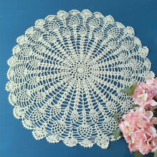 Vintage Hand Crochet Lace Doily Tablecloth Cover Round Beige Table Topper 19-21""