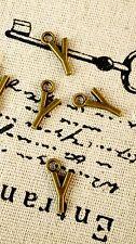 Alphabet letter Y charm bronze vintage style jewellery supplies C32