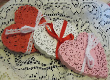 12 💝PCS 4 IN xtra LACEy HEART RED WHITE PINK PAPER DOILY CRAFT love card ASSORT