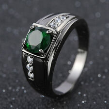 Fashion Band Size 8  Women Men Black 18K Gold Filled Emerald Luxury Rings Gift