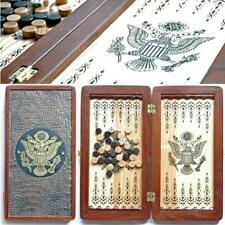 American Eagle Travel Luxury Backgammon Set Leather Pieces Tournament Board Game
