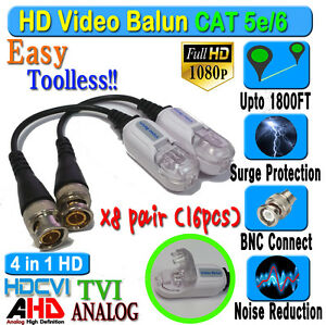 HD Balun 8 pairs 16pcs  CCTV BNC Video CAT5e 6 Surge Protect 1080P 720P 960H