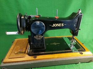 Vintage Working Jones Family D53 A Hand Crank Sewing Machine in Case
