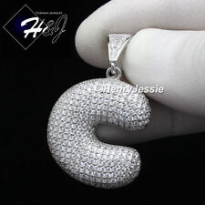 "MEN 925 STERLING SILVER LAB DIAMOND ICED BUBBLE INITIAL LETTER ""C"" PENDANT*SP203"