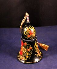 """Very Nice Vtg 4"""" Wooden Bell Floral Painted"""