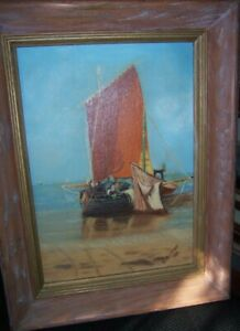 vintage Oil Painting fishing sailboat red sail signed R Altman 1963