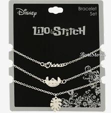 Disney Lilo & Stitch Silver Tone Dainty Charms Ohana Leaf 3 Piece Bracelet Set
