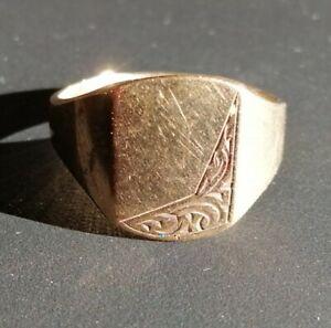 Mens 9ct Gold Vintage Signet Ring