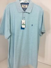 NWT Men's Penguins Short Sleeve Polo Shirt Classic Fit Large Crystal Blue $55.00