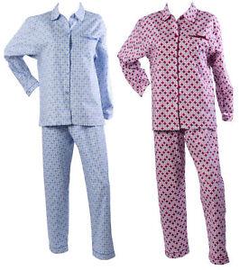 Ladies Dots Pyjamas 100% Cotton Long Sleeve Top & Trouser Bottoms Spotty PJs Set