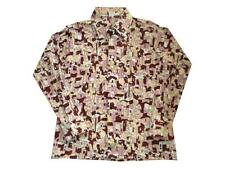 Vtg 70's Polyester Big Pointy Collar Disco Shirt Blouse Large Pink Brown Houses