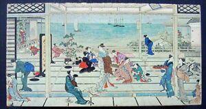 """1968 Springbok 600 pc Puzzle MOONLIGHT REVELRY by Utamaro 16""""x34"""" Complete Exc"""