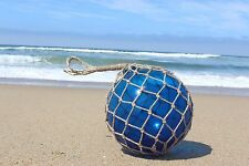"12"" Large Vintage Style Japanese Fishing Float; Blue Glass with Rope Netting"