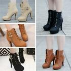 Women Platform High Heel Block Ankle Boots PU Leather Buckle Lace Up Shoes JJ