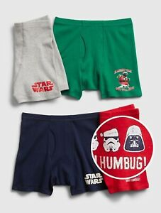 Gap Kids Boys Underwear Boxer Briefs Star Wars Holiday SMALL 6-7 S Pack 4 New