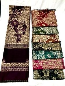 Indian Kashmiri Poly Shawl Scarf Stole Poncho Pashmina Wool Winter Woolen Wrap