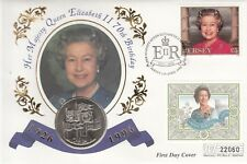HM Queen Elizabeth 11 70th Birthday Jersey £5.00 Stamp with Royal Mint new £5.00
