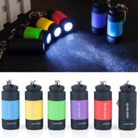 Mini LED Light USB Rechargeable Flashlight Lamp Pocket Keyring Torch Waterproof