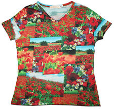 As New European Designer BOBOLI Size 6 (Tagged 8) Photo Real POPPY Print T-Shirt