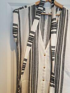Topshop Women Stripe Beach Cover Up Side Slit Dress. White & Black - Size UK 10