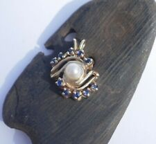 Vintage 14K Yellow Gold Sapphire & Pearl Pendant