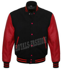 Varsity Letterman Black wool and Genuine Red Leather Sleeves Jacket XS~7XL