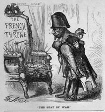 FRENCH THRONE SEAT OF WAR BY THOMAS NAST HARPER'S WEEKLY 1870 WOOD-CUT ENGRAVING