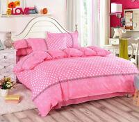 4pc. Pink Polka Dot 500TC Twin Full Queen Duvet Cover Comforter Set
