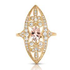 Oval Morganite Right Hand Ring New Ladies 14k Yellow Gold Diamond