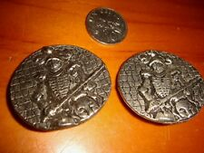 Vintage Collectible Knight Armor Buttons, 2 Metallic Tokens, Made in UK, Used