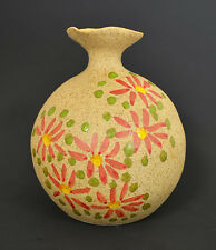 """Hand Made & Hand Painted Pottery Vase 5"""" H x 4""""W Elegant Flower and Nice Color"""