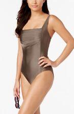 Calvin Klein metallic bronze shirred one piece swimsuit size 10