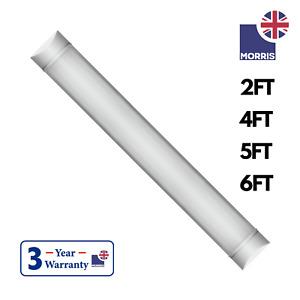 LED Batten Slimline Tube Light 4FT 5FT 6FT 2FT Wall/Ceiling Mount Morris 6000k