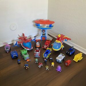 Large Lot 23 Pieces Paw Patrol Toys Action Figures Vehicles Large Plane Tower