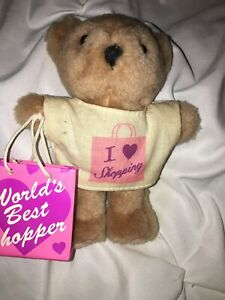 """Avon  Collection Pastime Pals I Love Shopping 5-6"""" Teddy Bear Curio Cabinet Item"""