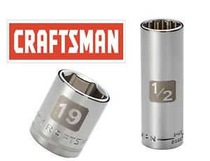 "Craftsman Easy Read Socket 1/2 or 3/8"" Drive Shallow or Deep Metric mm/SAE Inch"