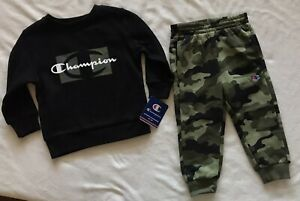 CHAMPION ATHLETICWEAR Toddler Boy's Fleece Crew and Joggers, 2-Piece Set
