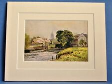 MARLOW LOCK AND RIVER THAMES BUCKS VINTAGE DOUBLE MOUNTED WATER COLOUR PRINT
