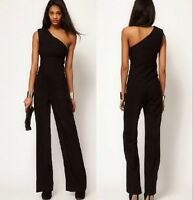 Womens One Shoulder Sexy Jumpsuit Bell-bottom Loose Overall Pants SZ S-XXL black