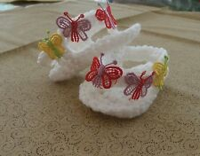 BABY BUTTERFLY'S FLIPFLOP HAND CROCHET 3-6 MONTHS  WHITE by ROCKY MOUNTAIN MARTY