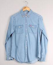 Hollister Blue Denim Cotton Beaded Collar Blouse Shirt Small S
