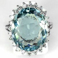 Women Fashion 925 Silver Aquamarine Gemstone Wedding Engagement Ring Size 6-10
