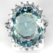 Women Fashion 925 Silver Aquamarine Gemstone Wedding Engagement Ring Size 6-10